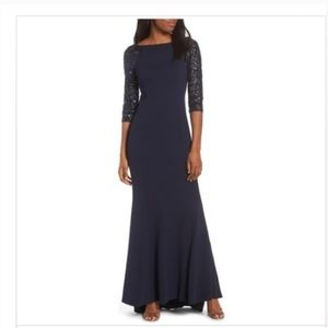 Vince Camuto Navy Sequin Maxi Dress Gown Size 10